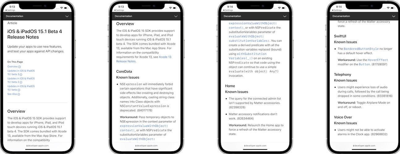 iOS 15.1 beta 4 release notes