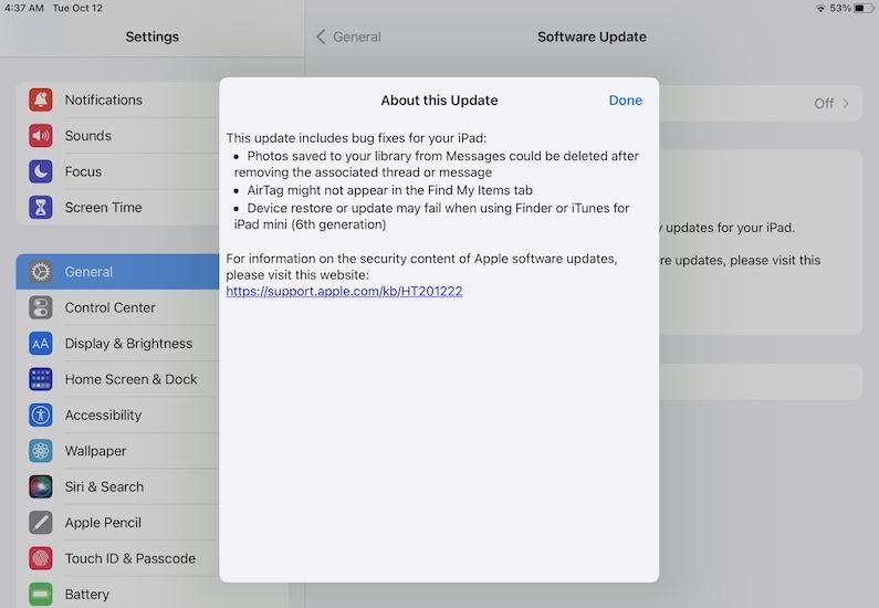 iPadOS 15.0.2 bug fixes